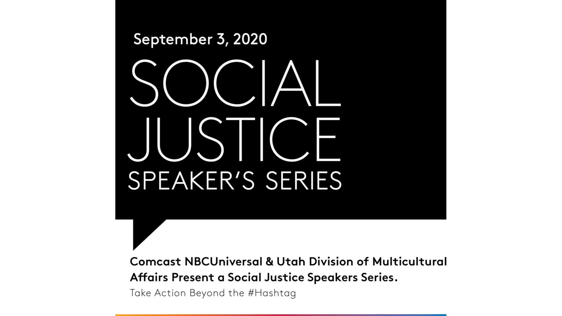 Social Justice Speakers Series poster.
